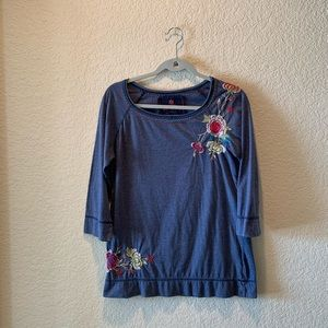 Johnny Was blue with colorful embroidery top, M